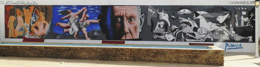 Realización de un murar artistico para decorar la plaza de Pablo Picasso en Carboneras